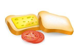 Fatia de pão torrado com manteiga, queijo, tomate, aquarela, desenho vetor
