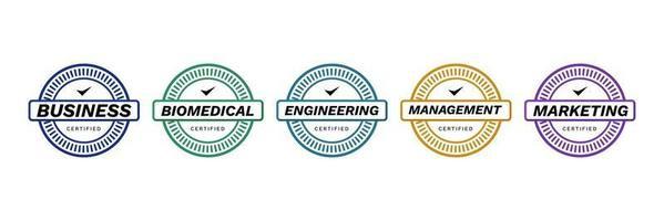 logotipos de crachá de experiência certificada, critérios para modelo de ícone de emblema de vetor de empresa de certificação