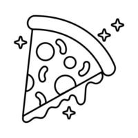 ícone de estilo de linha de fast food de pizza italiana deliciosa vetor
