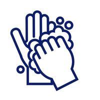 lavagem das mãos com ícone de estilo de linha de espuma vetor