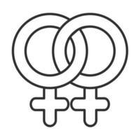 ícone de linha de relacionamento lésbico feminino saúde sexual vetor