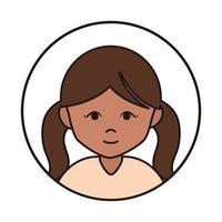 personagem de desenho animado morena linda garota feminina vetor