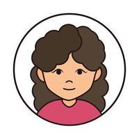 personagem de desenho animado de mulher com cabelo encaracolado ícone de linha redonda vetor
