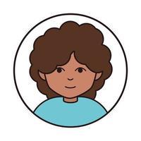 adolescente com cabelo encaracolado retrato desenho animado ícone de linha redonda vetor