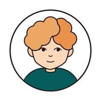 personagem de desenho animado de cabelo cacheado jovem ícone de linha redonda vetor