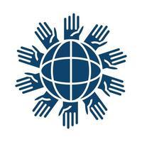 mãos ao redor do planeta ajuda silhueta ícone vetor