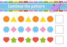 continue o padrão. planilha de desenvolvimento educacional. jogo para crianças. página de atividades. quebra-cabeça para crianças. enigma para a pré-escola. ilustração vetorial plana isolada. estilo bonito dos desenhos animados. vetor