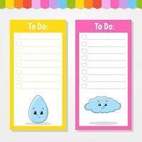para fazer uma lista para crianças. modelo vazio. queda e nuvem. a forma retangular. ilustração isolada do vetor da cor. personagem engraçado. estilo de desenho animado. para o diário, caderno, marcador.