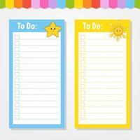 para fazer uma lista para crianças. modelo vazio. estrela e sol. a forma retangular. ilustração isolada do vetor da cor. personagem engraçado. estilo de desenho animado. para o diário, caderno, marcador.