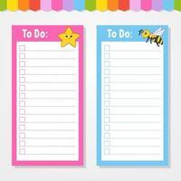 para fazer uma lista para crianças. modelo vazio. estrela e abelha. a forma retangular. ilustração isolada do vetor da cor. personagem engraçado. estilo de desenho animado. para o diário, caderno, marcador.