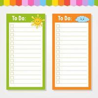 para fazer uma lista para crianças. modelo vazio. sol e nuvem. a forma retangular. ilustração isolada do vetor da cor. personagem engraçado. estilo de desenho animado. para o diário, caderno, marcador.