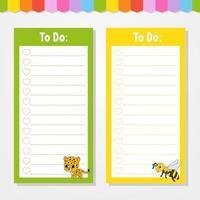 para fazer uma lista para crianças. modelo vazio. onça e abelha. a forma retangular. ilustração isolada do vetor da cor. personagem engraçado. estilo de desenho animado. para o diário, caderno, marcador.