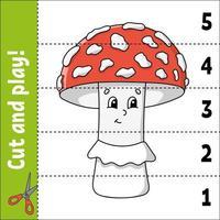 aprendendo números 1-5. cortar e jogar. planilha de educação. jogo para crianças. página de atividades de cores. quebra-cabeça para crianças. enigma para a pré-escola. ilustração vetorial. estilo de desenho animado. tema de outono. vetor