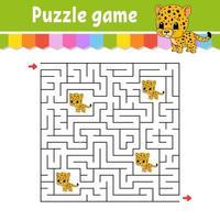 labirinto quadrado. jogo para crianças. onça pintada. quebra-cabeça para crianças. enigma do labirinto. ilustração do vetor de cor. encontre o caminho certo. ilustração isolada do vetor. Personagem de desenho animado.