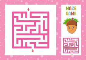 labirinto quadrado. jogo para crianças. quebra-cabeça para crianças. personagem feliz. enigma do labirinto. ilustração do vetor de cor. encontre o caminho certo. com resposta. ilustração isolada do vetor. estilo de desenho animado.
