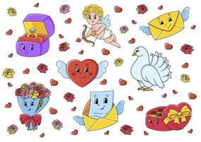 conjunto de personagens de desenhos animados fofos. clipart do dia dos namorados. desenhado à mão. pacote colorido. ilustração vetorial. coleção de emblemas de remendo. elementos de design da etiqueta. para planejador diário, diário, organizador. vetor