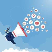 mídia social e conceito de marketing digital vetor