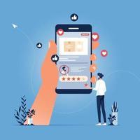 avaliação de produto online, taxa de feedback, conceito de pessoas vetor