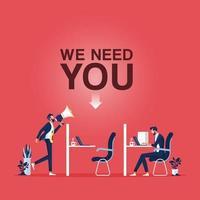 vaga de emprego e novo conceito de recrutamento empresário segurando megafone com a palavra precisamos de você vetor