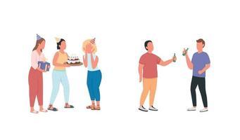amigos na festa de aniversário conjunto de caracteres sem rosto de vetor de cor lisa