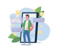 bom serviço online revisão ilustração plana conceito em vetor