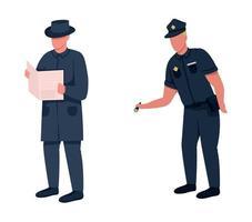 conjunto de caracteres sem rosto de vetor de cor lisa policial