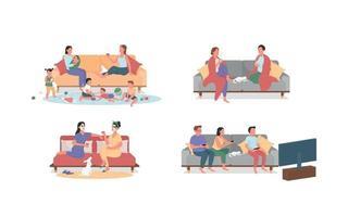 descansando em casa no sofá conjunto de caracteres sem rosto de vetor de cor lisa