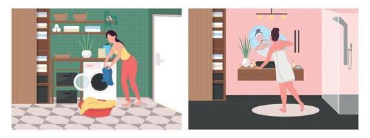 Conjunto de ilustração vetorial de rotina diária no banheiro vetor