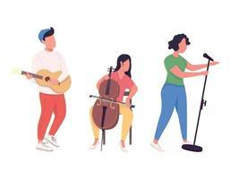 banda de música desempenho cor plana personagens sem rosto vetor