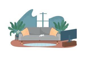 sala de estar moderna com tv e sofá 2d vector web banner