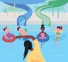 ilustração vetorial de cores planas divertida parque aquático vetor