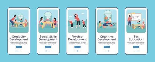 desenvolvimento infantil modelo de vetor plano tela de aplicativo móvel onboarding
