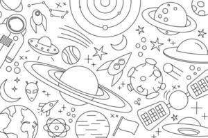 padrão moderno de planeta estrela cometa com diferentes foguetes universo desenhos de linhas cosmos vetor