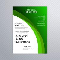 Modelo de folheto de negócio verde abstrato com design de onda vetor