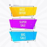 Bandeira de venda colorida conjunto vector design
