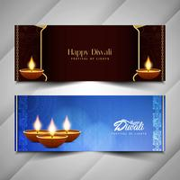 Conjunto de bandeiras de feliz Diwali feliz abstrato