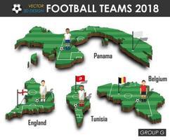 equipes nacionais de futebol 2018 jogador de futebol do grupo g e bandeira no vetor de fundo isolado do mapa do país de design 3d para o conceito de torneio do campeonato mundial internacional 2018