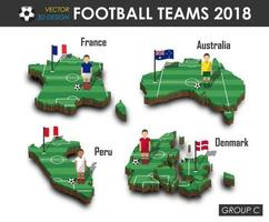 equipes nacionais de futebol 2018 grupo c jogador de futebol e bandeira no vetor de fundo isolado do mapa do país de design 3d para o conceito de torneio do campeonato mundial internacional de 2018