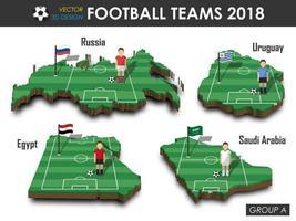 as equipes nacionais de futebol de 2018 agrupam um jogador de futebol e uma bandeira no vetor de fundo isolado do mapa do país de design 3D para o conceito de torneio do campeonato mundial internacional de 2018