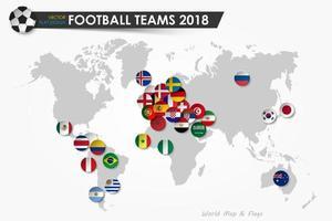 bandeiras do país da copa de futebol de 2018 de times de futebol em vetor de fundo de mapa mundial para design plano de conceito de torneio de campeonato mundial internacional de 2018