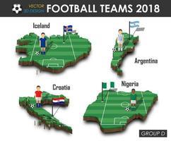 equipes nacionais de futebol 2018 jogador de futebol do grupo d e bandeira no vetor de fundo isolado do mapa do país de design 3D para o conceito de torneio do campeonato mundial internacional de 2018