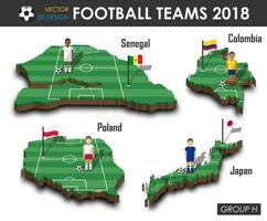 equipes nacionais de futebol 2018, grupo h, jogador de futebol e bandeira no 3d design país mapa isolado vetor de fundo para o conceito de torneio de campeonato mundial internacional 2018