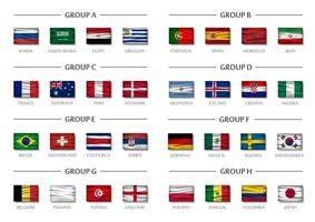 grupo da equipe da copa de futebol definir vetor de bandeiras nacionais onduladas realistas para o torneio do campeonato mundial internacional 2018