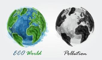 eco mundo e poluição pintura em aquarela design vetor de conceito ecológico