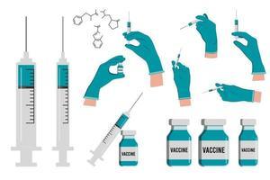 Conjunto de vacina injetável em mãos com luvas médicas vetor