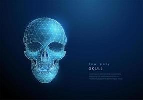 design de estilo low poly crânio humano abstrato vetor