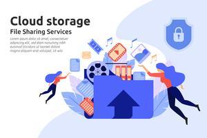 Serviço de armazenamento em nuvem. Serviço de centro de compartilhamento de arquivos. multimídia d vetor