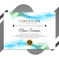 Modelo de design de certificado de aquarela colorido abstrato vetor