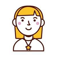 mulher feminina com avatar de colar de estrela vetor