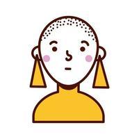personagem de avatar feminino careca vetor